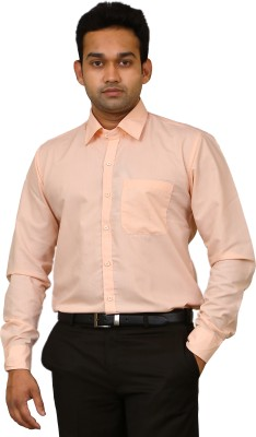 Benzoni Men's Solid Formal Orange Shirt