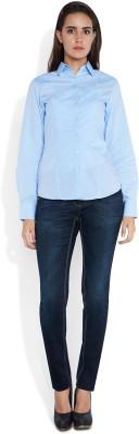 Park Avenue Women,s Printed Formal Blue Shirt