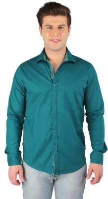 Zoro Auge Men's Solid Casual Linen Green Shirt