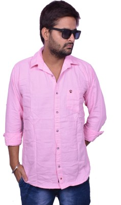 Lee Mark Men's Solid Casual Pink Shirt