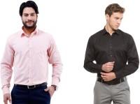 Jiyana Formal Shirts (Men's) - Jiyana Men's Solid Formal Pink, Black Shirt(Pack of 2)