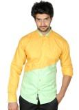 FUKREY Men's Self Design Casual Yellow, ...