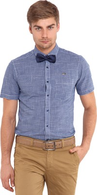 Classic Polo Men's Solid Casual Blue Shirt