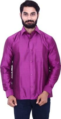 KENRICH Men's Solid Casual Pink Shirt