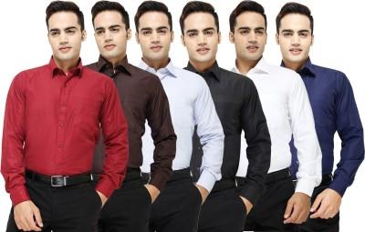 Yuva Men's Solid Formal Maroon, Brown, Light Blue, Black, White, Dark Blue Shirt