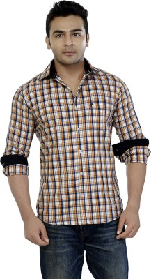Jazzup Men's Checkered Casual Orange Shirt