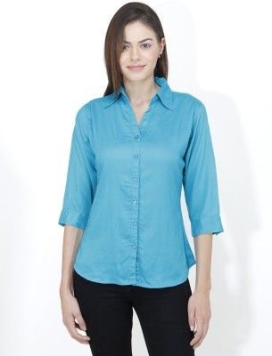 Mayra Women's Solid Casual Light Blue Shirt