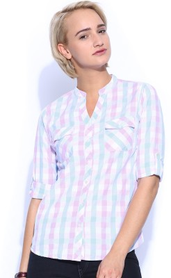 Mast & Harbour Women's Checkered Casual Pink Shirt