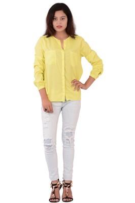 Fashnopolism Women's Solid Casual Yellow Shirt