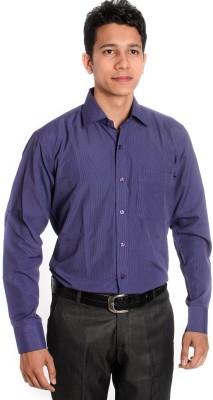 Tag & Trend Men's Striped Formal Purple Shirt