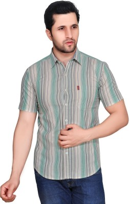 Ubho Core Men's Striped Casual Beige Shirt