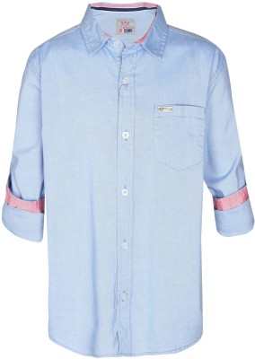 Gini & Jony Boy's Printed Casual Blue Shirt