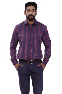 ALLANZO Men's Striped Party Reversible Red Shirt