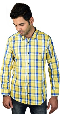 Leaf Star Men's Checkered Casual Yellow Shirt