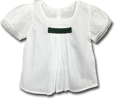 AC Baby Girl's Solid Casual White Shirt