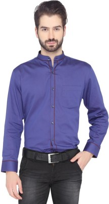 Greenfibre Men's Solid Formal Blue Shirt