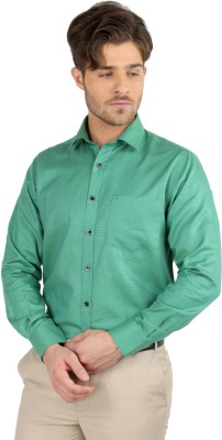 J Hampstead Men's Solid Formal Green Shirt