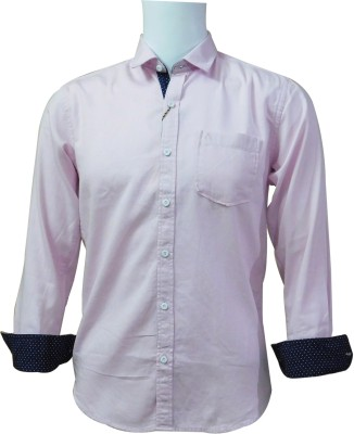 Ardeur Men's Solid, Self Design Casual Pink Shirt