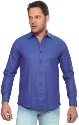 Club Fox Men,s Solid Casual Blue Shirt