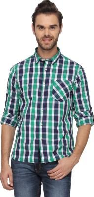 T-Base Men's Checkered Casual Green Shirt