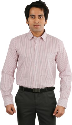 Desar Rana Men's Striped Formal Red, White Shirt