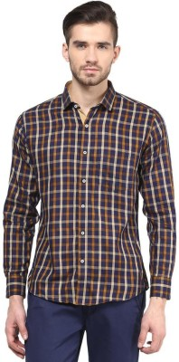 The Vanca Men's Checkered Casual Yellow Shirt