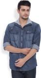 I-Voc Men's Solid Casual Denim Blue Shir...
