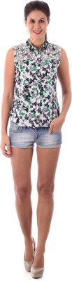 House of Tantrums Women's Floral Print Casual White Shirt