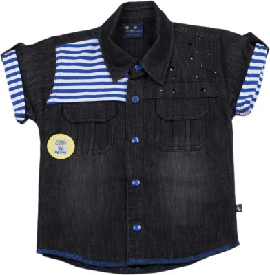 Lizzy Lazzy Baby Boy's Solid Casual Denim Blue Shirt