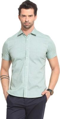 Leo Sansini Men's Solid Casual Green Shirt