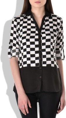 London Off Women's Checkered Casual Black Shirt
