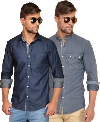 Chalk Factory Men's Solid Casual Denim Blue, Grey Shirt