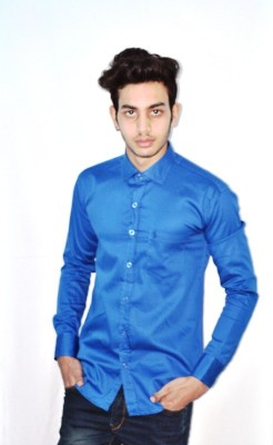 Neptune Men's Solid Casual Blue Shirt
