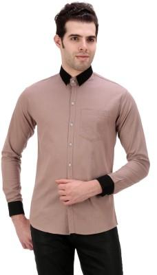 American Buck Men's Solid Casual Brown Shirt