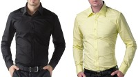 Bacchus Formal Shirts (Men's) - Bacchus Men's Solid Formal Black, Yellow Shirt(Pack of 2)
