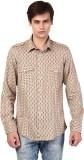 Oxolloxo Men's Printed Casual Beige Shir...