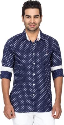 Laven Men's Self Design Casual Linen Dark Blue Shirt