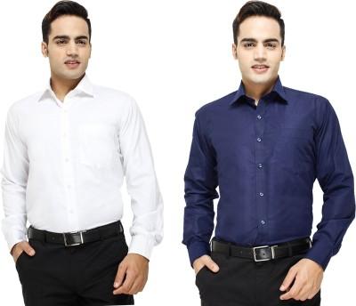 Yuva Men's Solid Formal White, Dark Blue Shirt