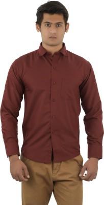 Aurus Men's Solid Formal Maroon Shirt