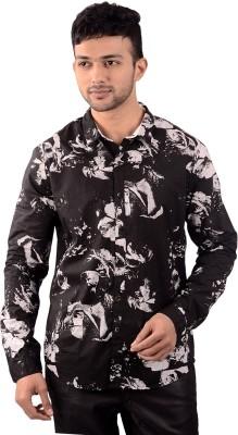 St. Germain Men's Printed Party Black Shirt