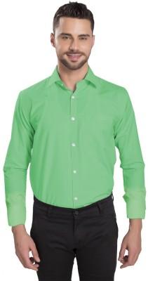 Vkg Men's Solid Formal Light Green Shirt