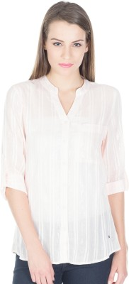 Miss Chick Women's Striped Casual Pink Shirt
