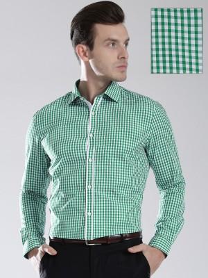 Invictus Men's Checkered Formal Green, White Shirt