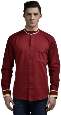 Future Plus Men's Self Design Casual Maroon Shirt
