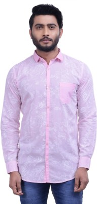 Hoffmen Men's Self Design Casual Pink Shirt