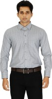 C N B Formal Shirts (Men's) - C n B Men's Striped Formal Silver Shirt