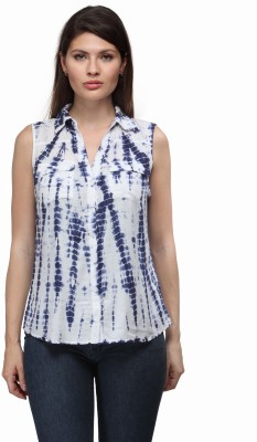 FW Collection Women's Printed Casual Blue Shirt