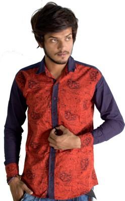 Sharp Fashion Men's Printed Casual Orange Shirt