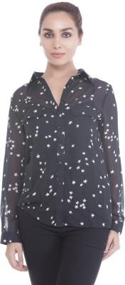 Revoure Women's Geometric Print Casual Black, White Shirt