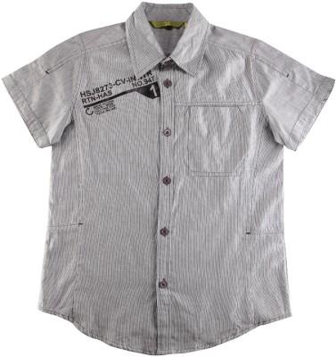Eves Pret A Porter Boy's Striped Casual Black, Grey Shirt